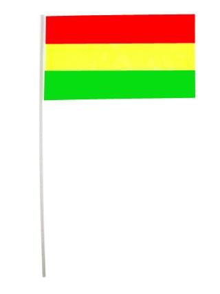 Papieren vlaggetjes rd/gl/gr op stokje p/ 50 20×13/stok 38cm 1