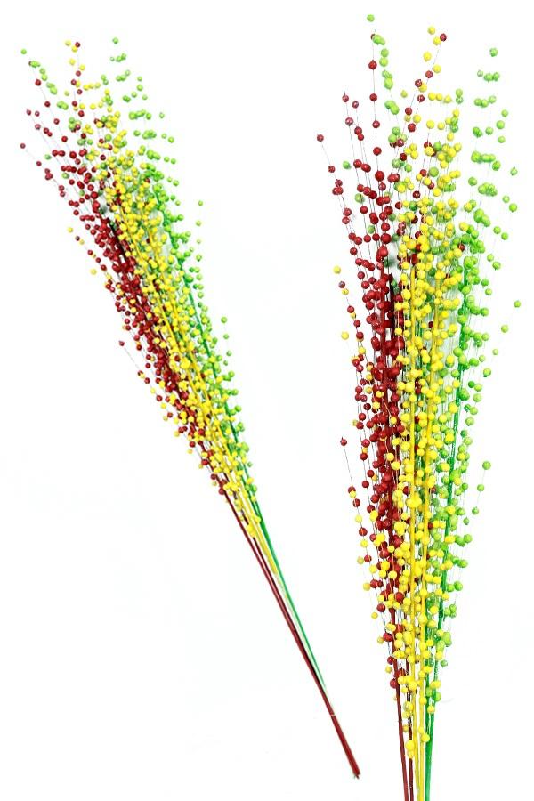 Decoratie takken rood/geel/groen per 6 besjes 115 cm