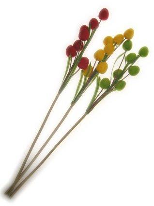 Deco takken rood/geel/groen per 3 ovale bollen 78 cm