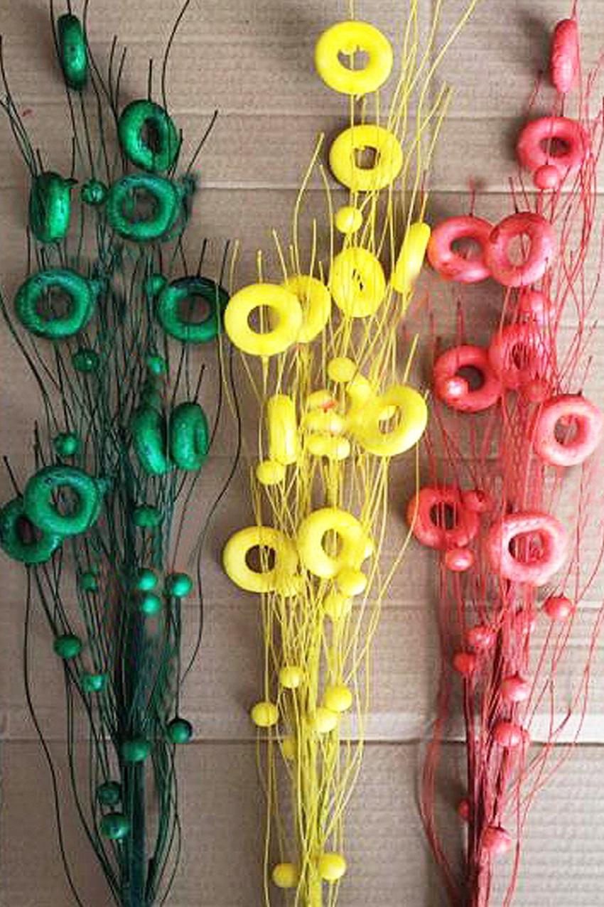 Deco takken circels rood geel groen per 3  1