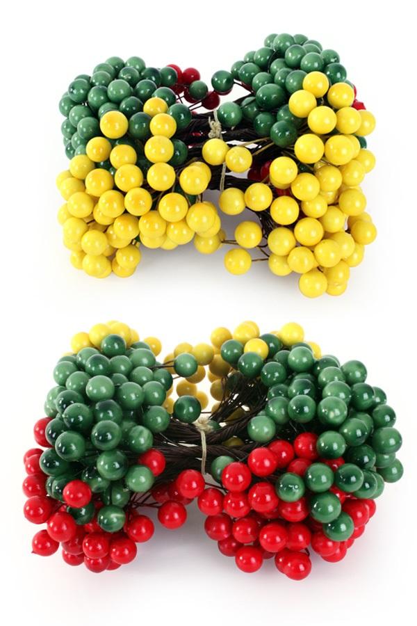 Deco bessen rood/geel/groen op draad 200st assortie 1