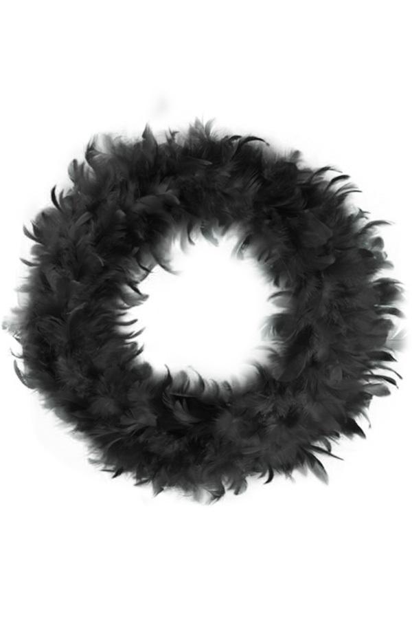 Veren krans zwart 30 cm
