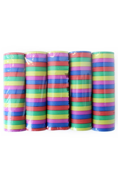 Serpentine rollen bonte kleuren brandveilig, per 100 rollen (20 krimpen)