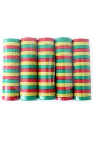 Serpentine rollen rood/geel/groen brandveilig, per 100 rollen (20 krimpen)