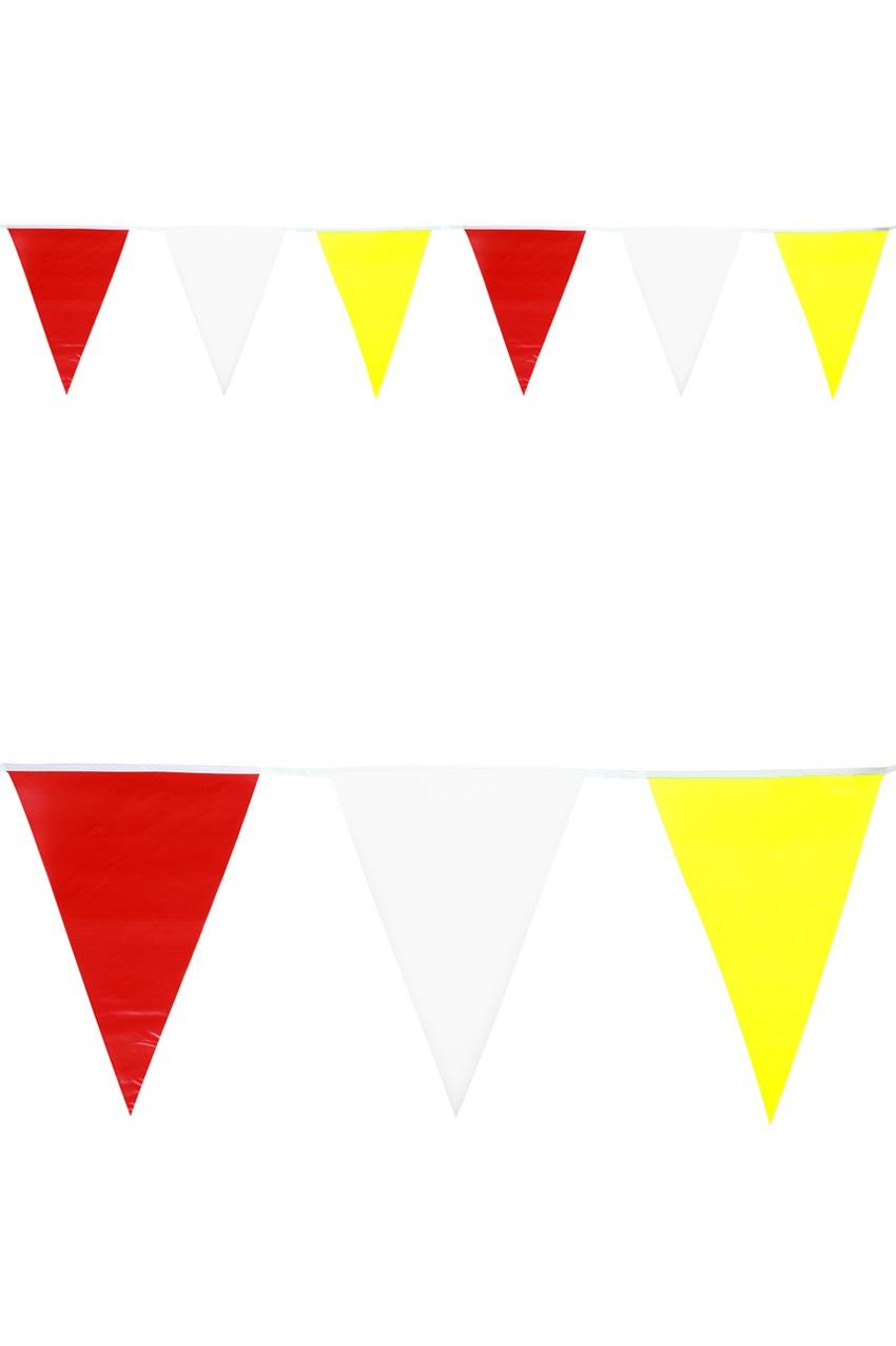 Vlaggenlijn plastic rood/wit/geel 10 meter 1