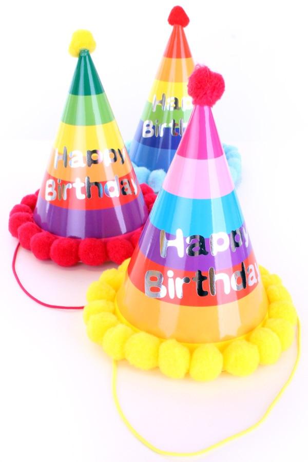 Feesthoedje multicolour Happy Birthday 3 assrti 1