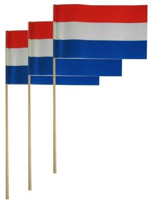 Papieren vlaggetjes op stok rood/wit/blauw per 50 20×13 cm