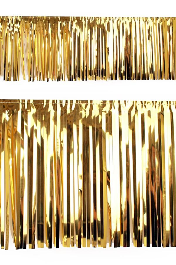 PVC slierten folie guirlande goud 6 meter x 30 cm 1