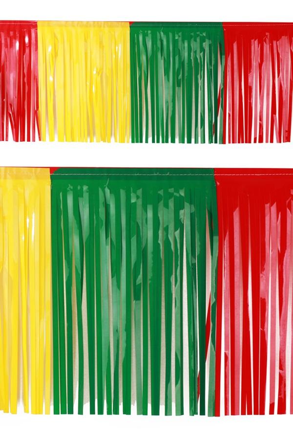 PVC slierten folie guirlande rood/geel/groen 6 meter x 30 cm BRANDVEILIG 1