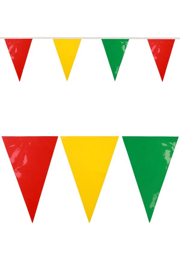 PVC vlaggenlijn rood/geel/groen 10 meter BRANDVEILIG 1