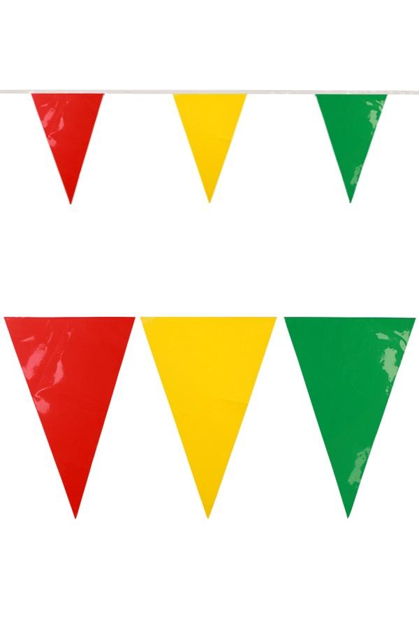 PVC jumbo vlaggenlijn rood/geel/groen 10 meter BRANDVEILIG 1
