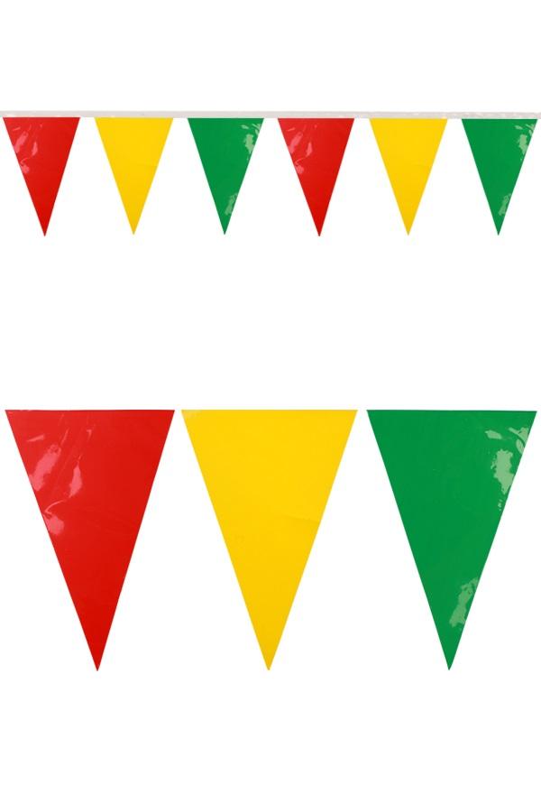PVC mini vlaggenlijn rood/geel/groen 4 meter / 28 vlaggen BRANDVEILIG 1