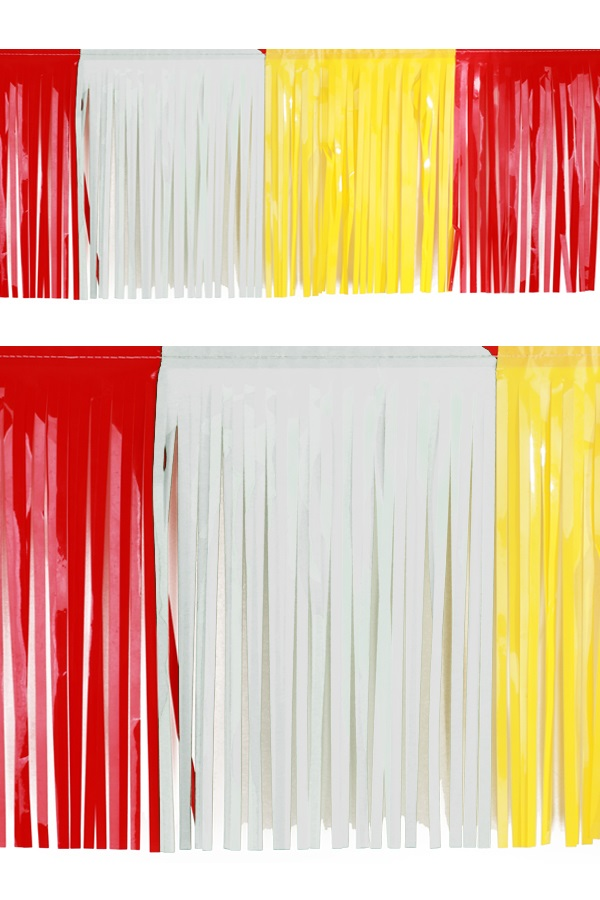 PVC slierten folie guirlande rood/wit/geel 6 meter x 30 cm BRANDVEILIG 1