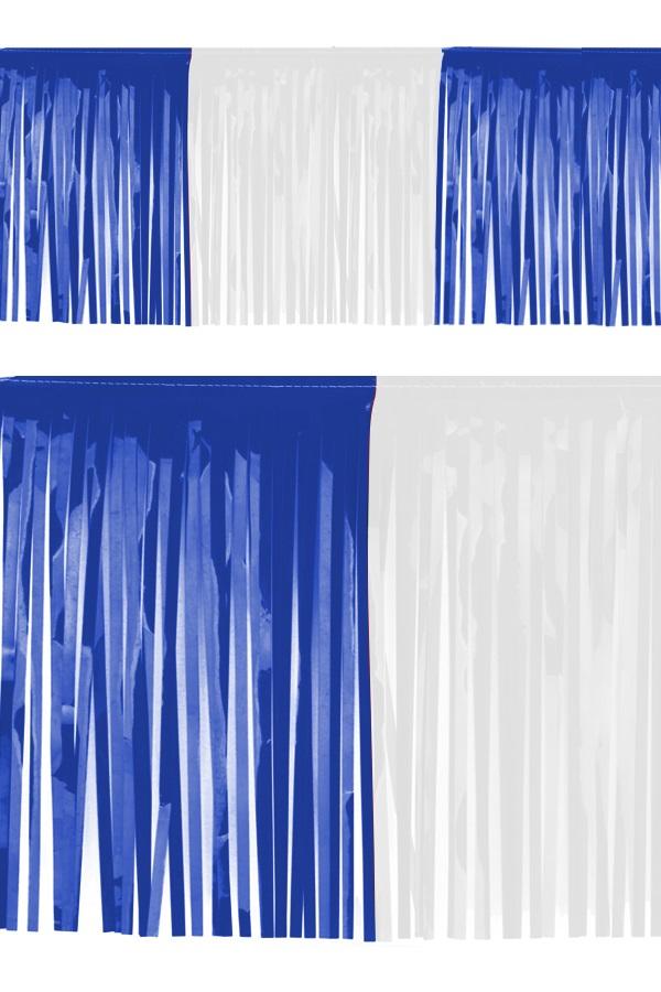 PVC slierten folie guirlande blauw/wit 6 meter x 30 cm BRANDVEILIG 1