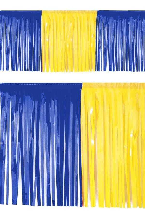 PVC slierten folie guirlande blauw/geel 6 meter x 30 cm BRANDVEILIG 1