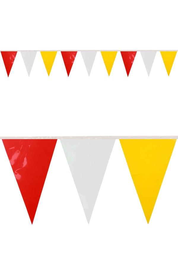 PVC mini vlaggenlijn rood/wit/geel 4 meter / 28 vlaggen BRANDVEILIG 1