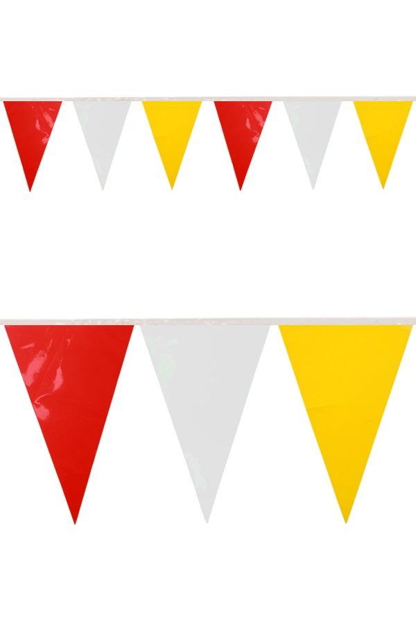 PVC vlaggenlijn rood/wit/geel 10 meter BRANDVEILIG 1