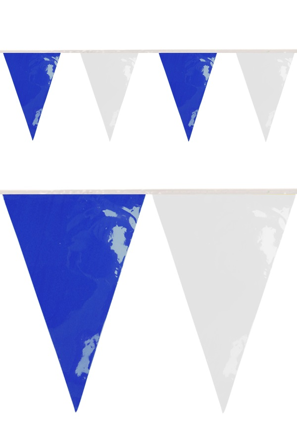 PVC vlaggenlijn blauw/wit 10 meter BRANDVEILIG 1