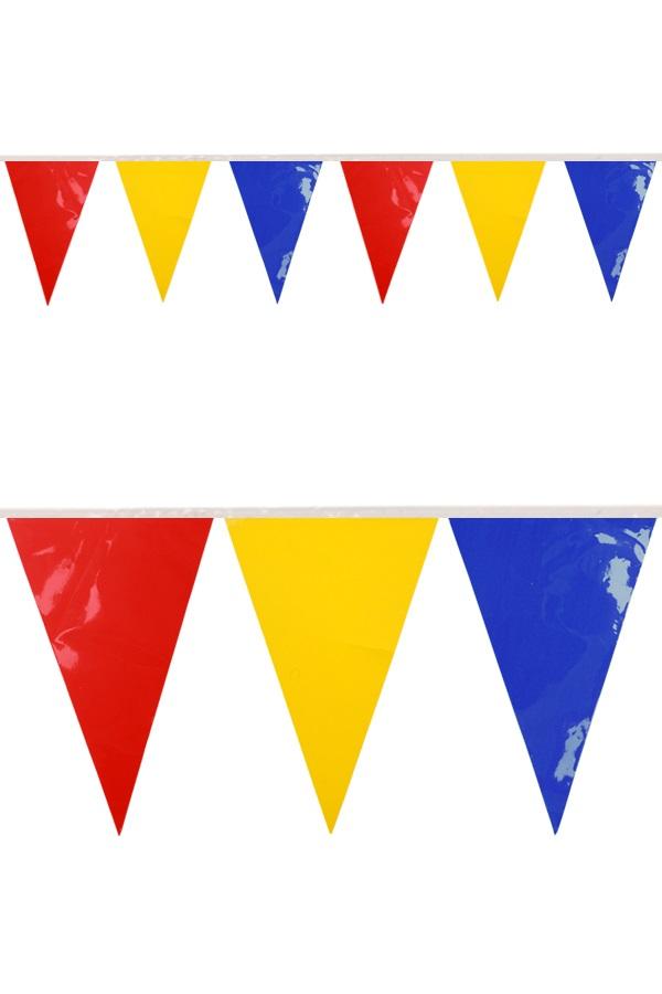 PVC vlaggenlijn rood/geel/blauw 10 meter BRANDVEILIG 1