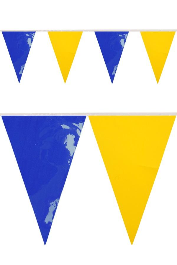 PVC vlaggenlijn blauw/geel 10 meter BRANDVEILIG 1