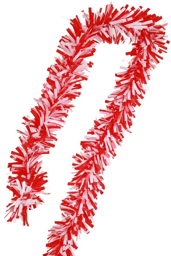 PVC folie draai guirlande rood/wit 5 meter BRANDVEILIG 1
