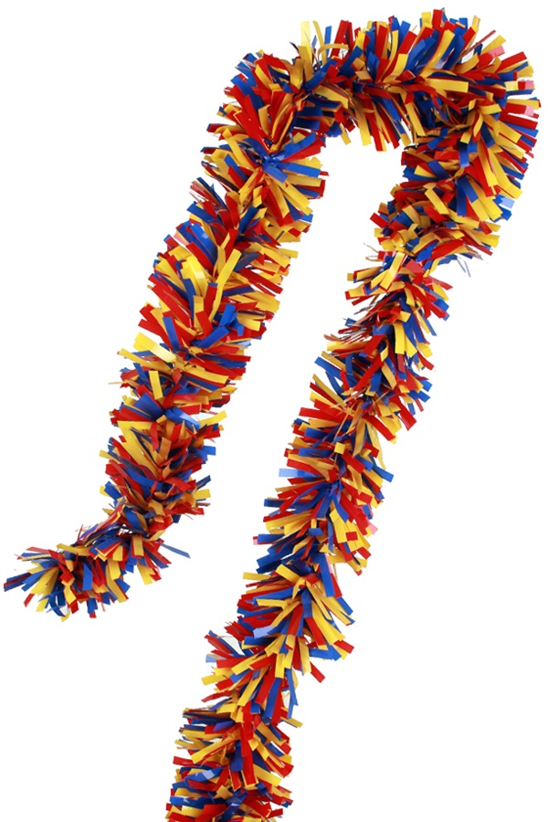 PVC folie draai guirlande rood/geel/blauw 5 meter BRANDVEILIG 1