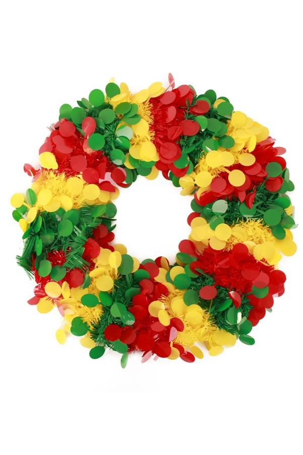 Deurkrans 45 cm confetti snippers rood geel groen Brandveilig  1