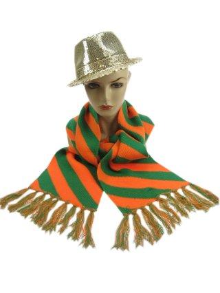 Sjaal gebreid oranje/groen 180 x 20 cm