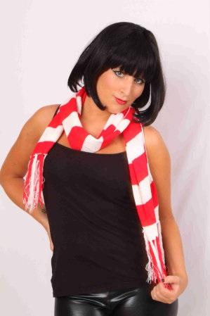 Sjaal gebreid rood/wit 160 x 18 cm