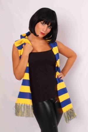 Sjaal gebreid blauw/geel 160 x 18 cm