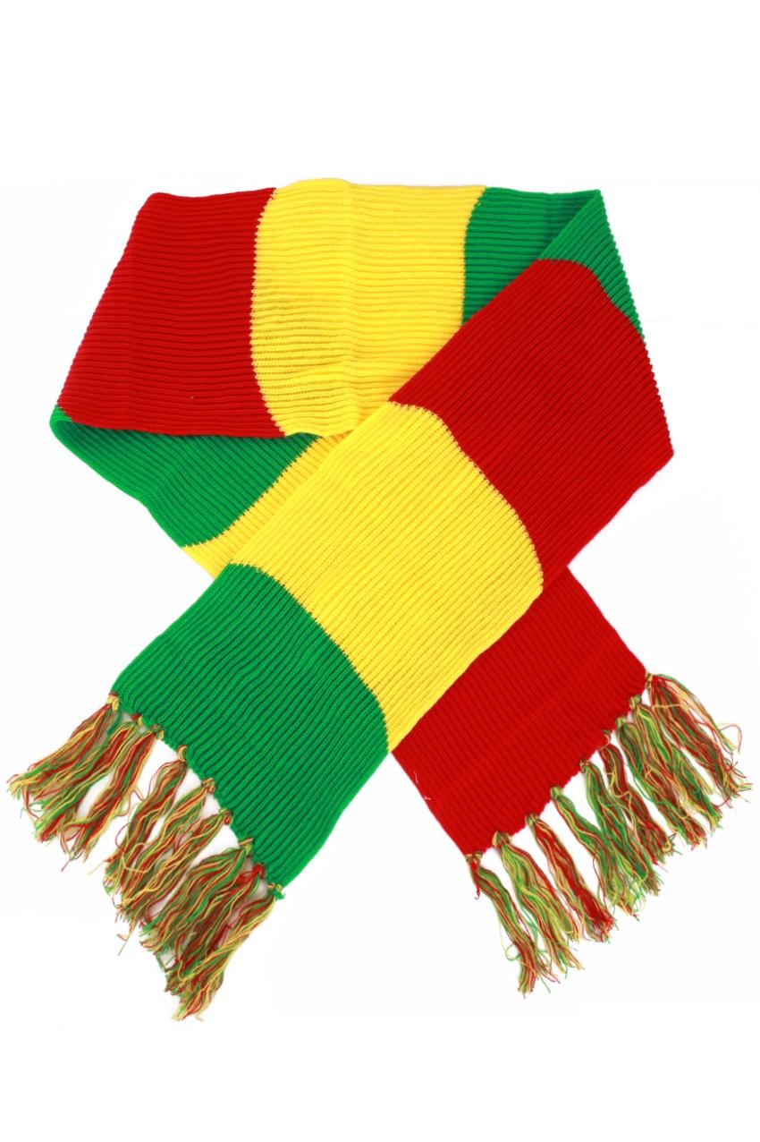 Sjaal gebreid rood/geel/groen 180 x 22 cm