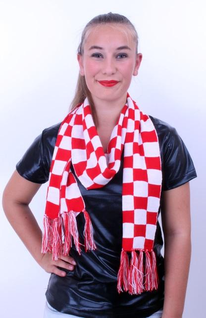 Sjaal gebreid rood/wit geblokt 160 x 18 cm