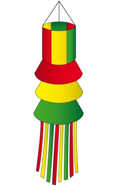 Windsock rood/geel/groen met slierten 180 cm
