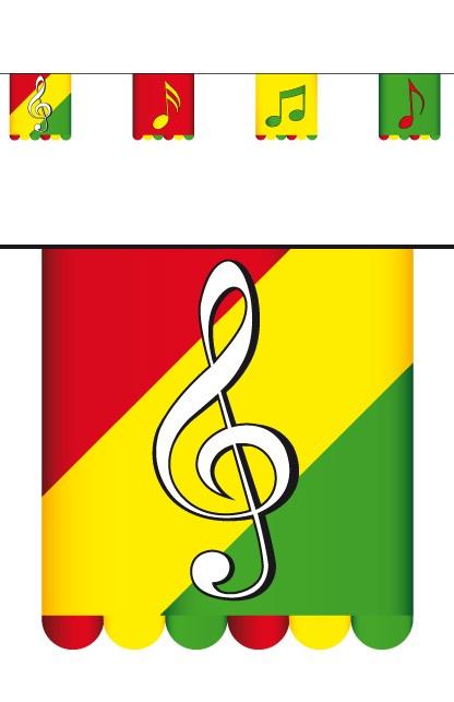 Vlaggenlijn karton rd/gl/gr 3 mtr dubbelz muzieknoten  16×13  1