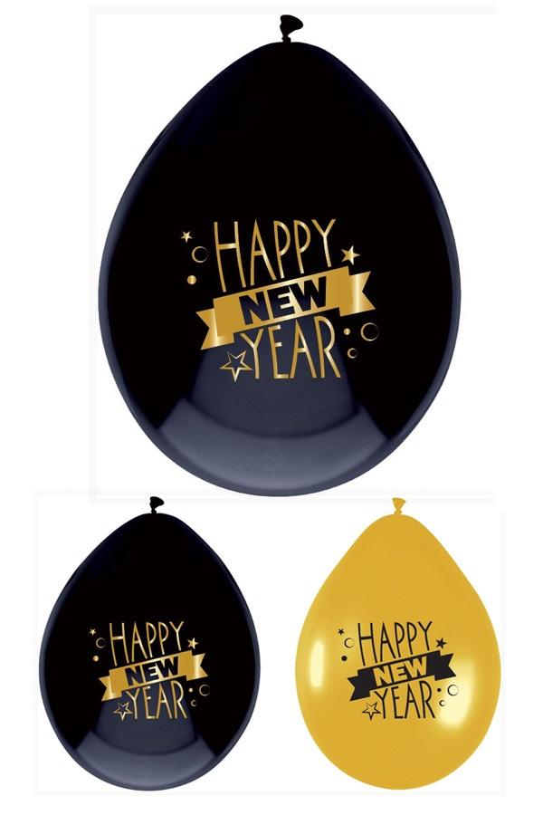 Ballonnen 6 st HAPPY NEW YEAR 1