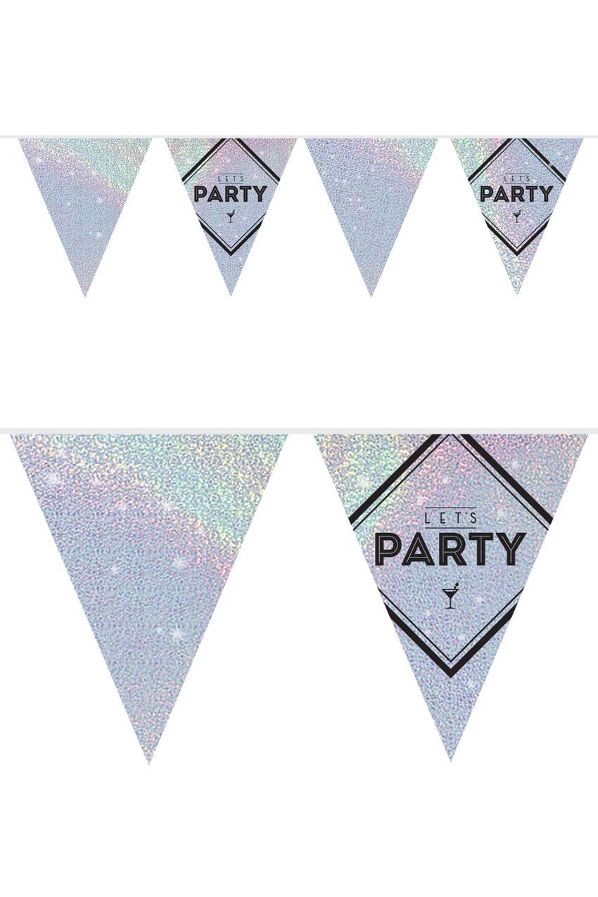 Vlaggenlijn Let's Party holograpic zilver 10 m 1