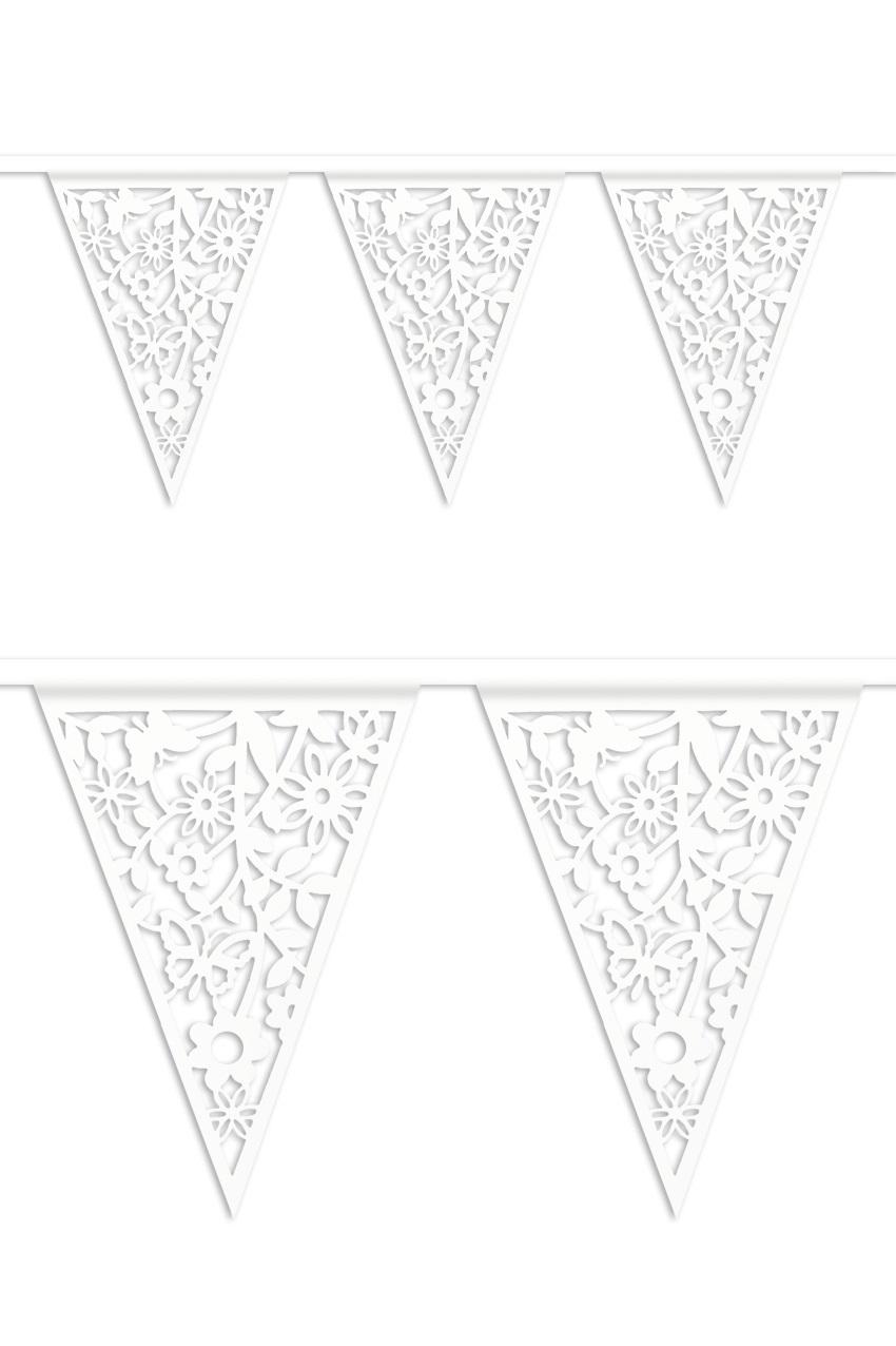 Vlaggenlijn Huwelijk papier wit 6 m 1