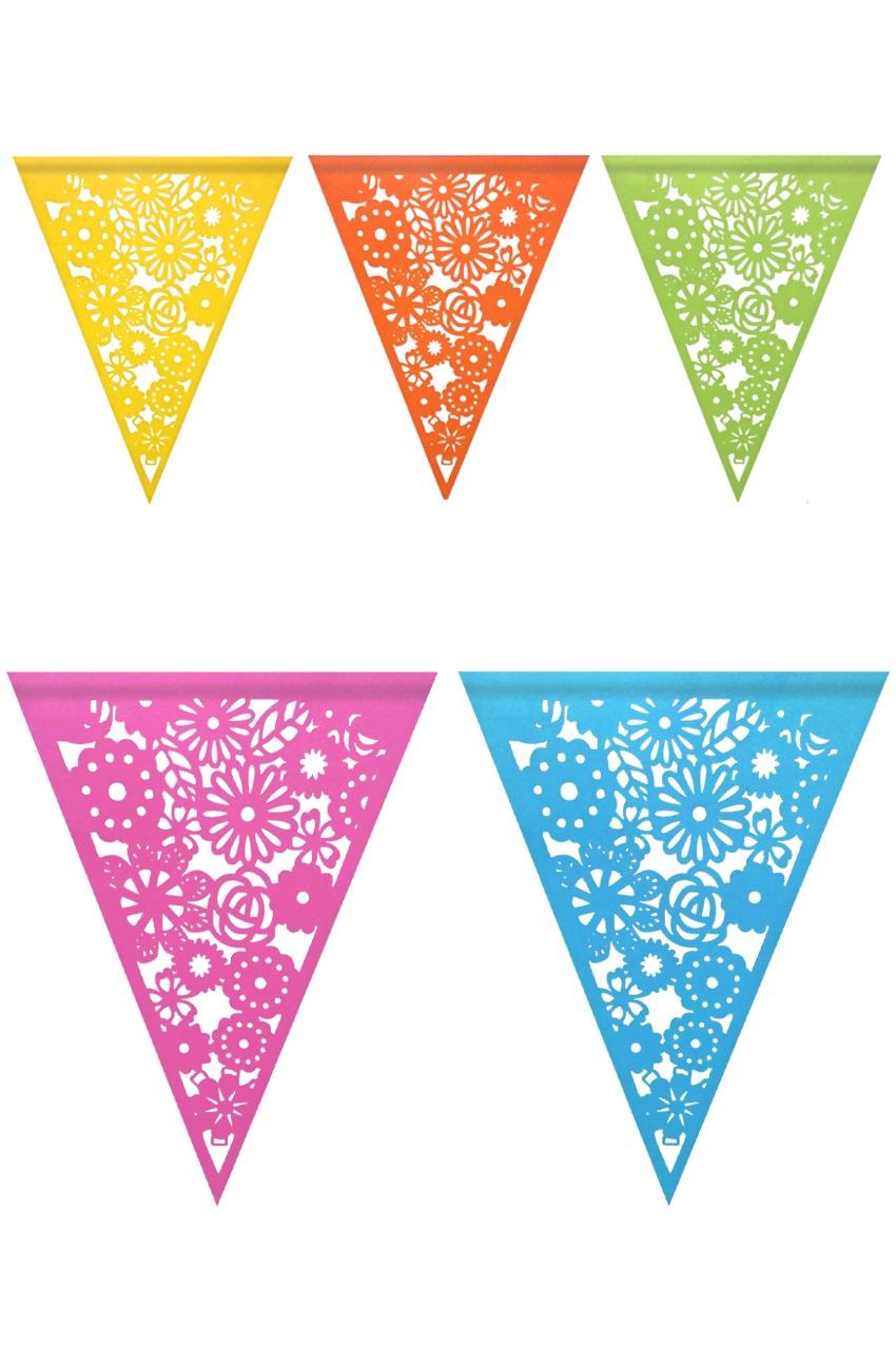 Vlaggenlijn kleurrijk papier 6 m 1