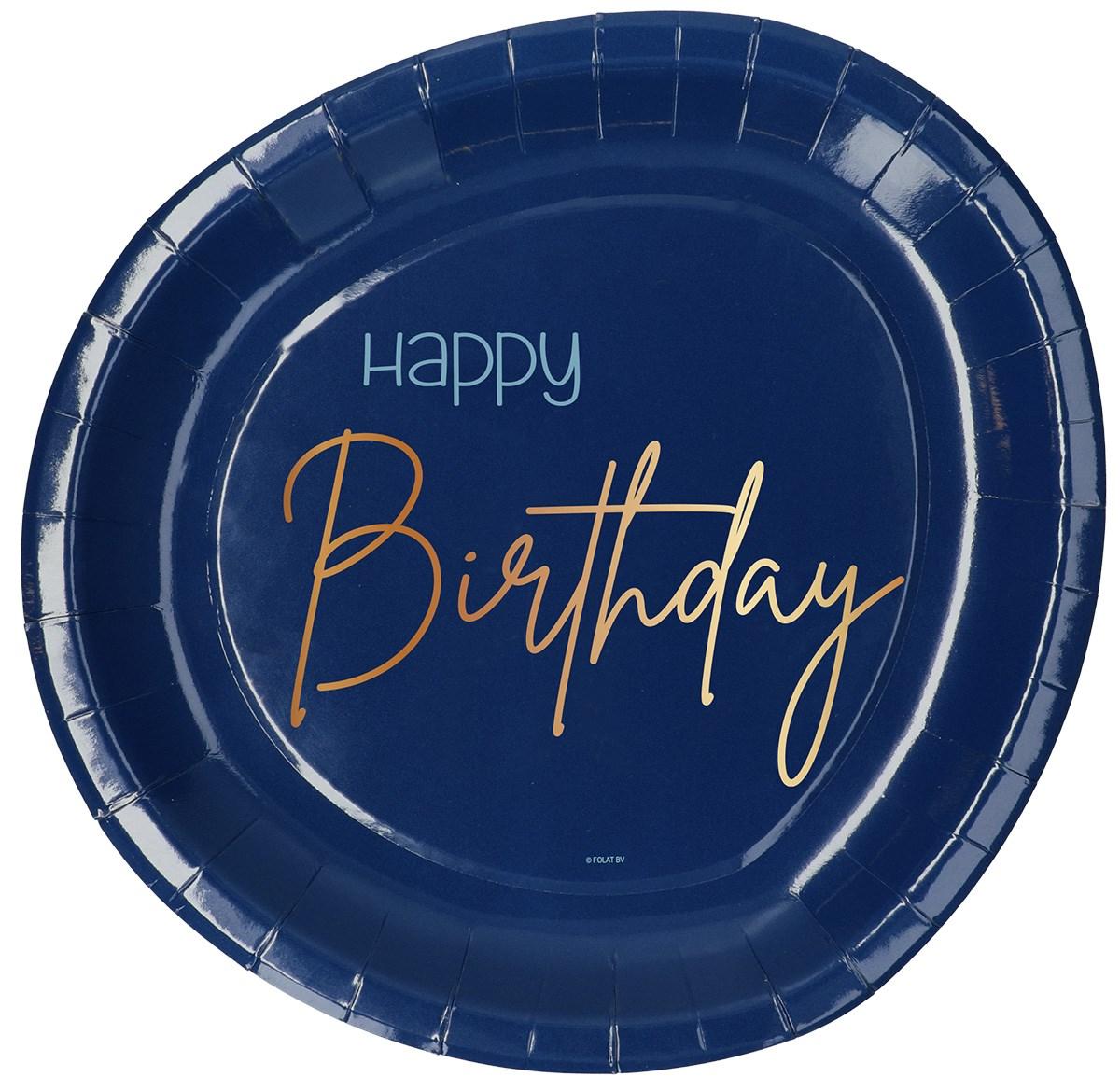 Plates Happy Birthday Elegant True Blue 23cm /8 1
