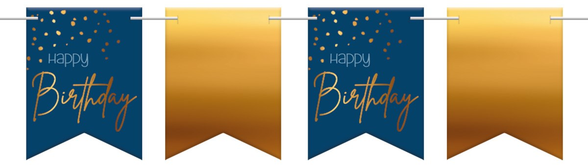 Flagbanner Elegant True Blue Happy Birthday 6m 1