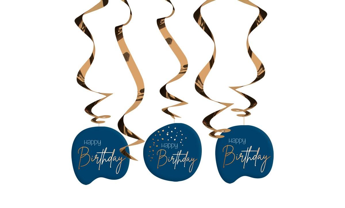 Swirl Garland Elegant True Blue Happy Birthday /5 1
