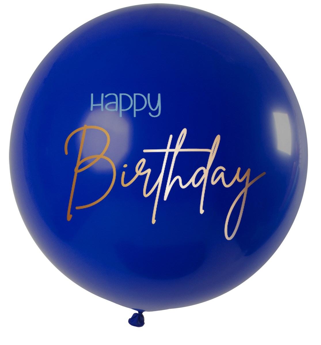 Fltx 31In/80cm Elegant True Blue Happy Birthday  1