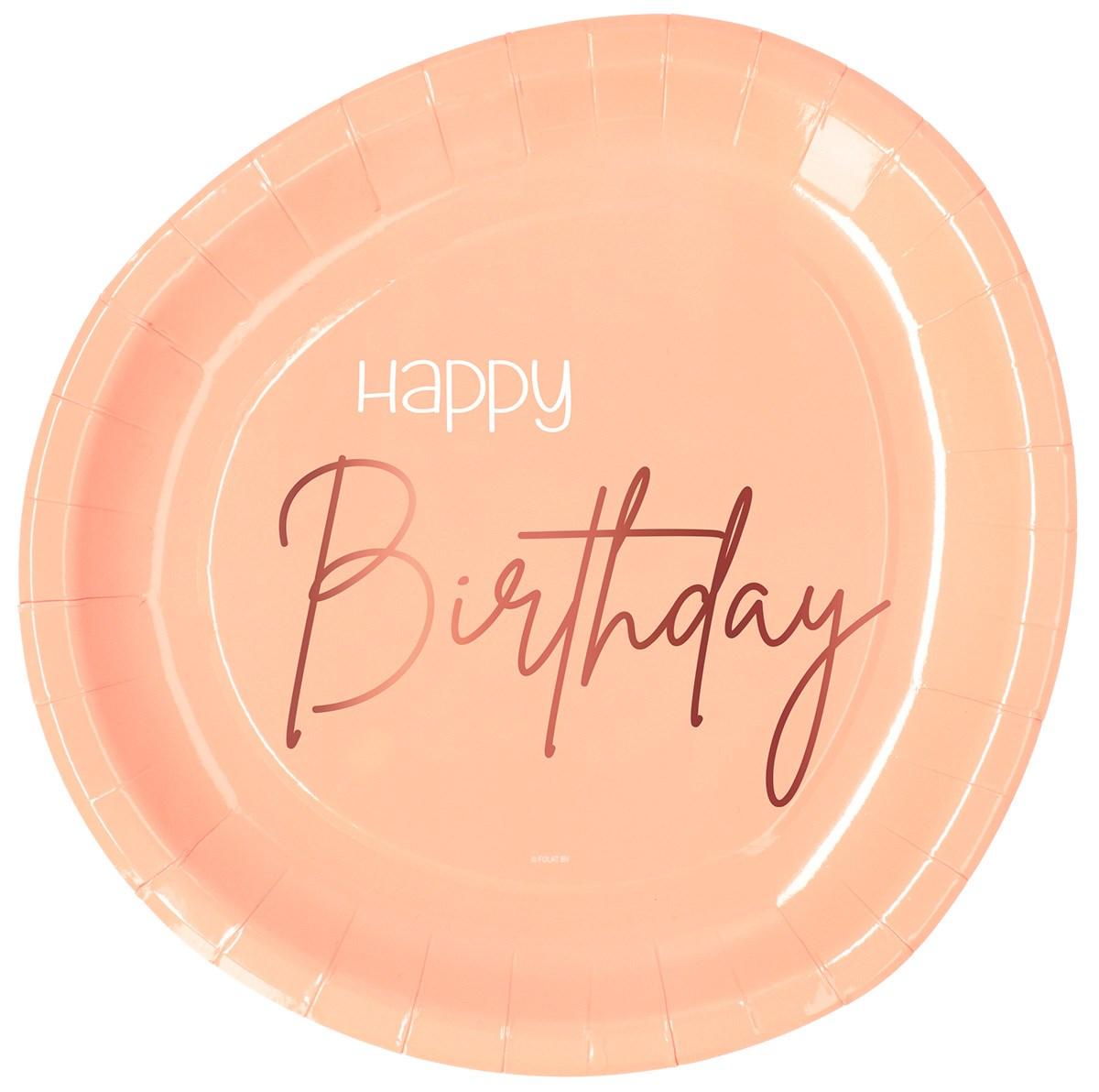Plates Happy Birthday Elegant Lush Blush 23cm /8 1