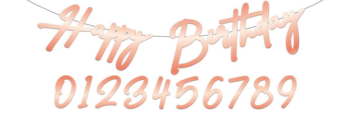 Letter Flagbanner Happy Birthday Elegant Lush Blush 1