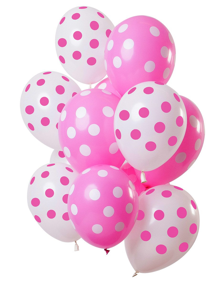 Fltx 12In/30cm Polka Dots Pink White /12 1