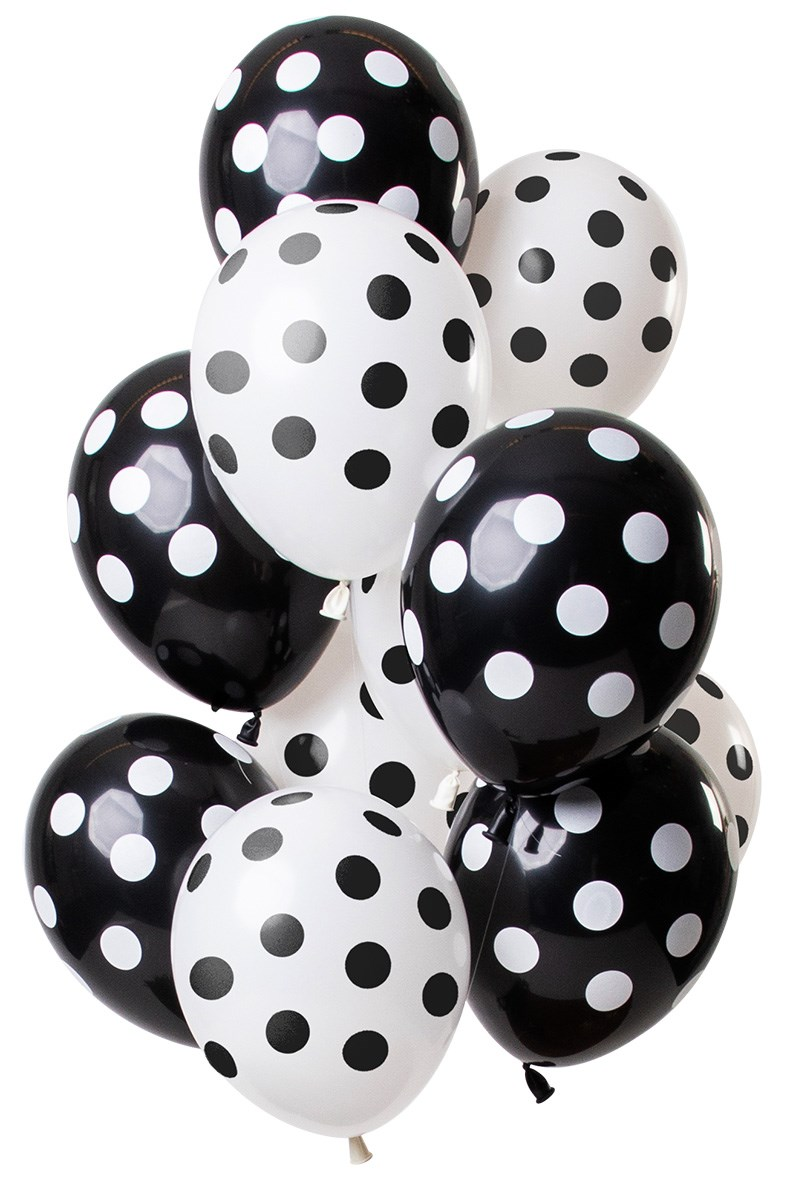 Fltx 12In/30cm Polka Dots Black White /12 1